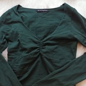 Green ruched low neck top